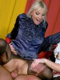 Two clothed platinum blondes Lena Cova and Rachel La Rouge get stuffed on the couch