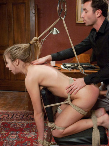 Hot blonde Chastity Lynn with juicy rounded ass gets hogtied and screwed hard by James Deen.