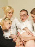 Nerdy four-eyed boy gets his dick examined by Jools Brooke and other office women