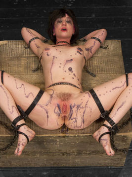 Cute brunette Proxy Paige has her tight shaved pussy tortured and used roughly.