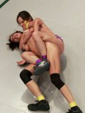 Lyla Storm gets on top of slim, good looking Amber Rayne while she presses her down in cat fights.