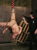 Amazingly flexible slave Katarina Kat gets her pussy hooked after great tricks in suspension