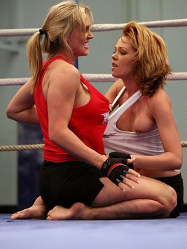 Lesbian fighters Nikita and Tanya Tate are curious about each others snatches