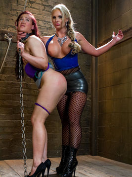 Cheyenne Jewel bound and has her slim body twisted around during BDSM with kinky Phoenix Marie.