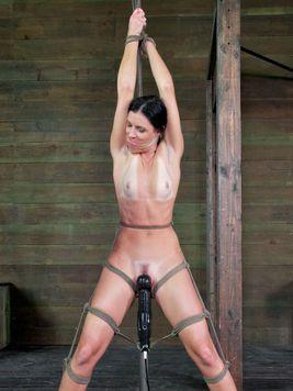 India Summer spider gagged and pressed onto the cold floor while tied up and teased during bondage.