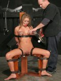 Strap bound ball gagged slave blonde Jaelyn Fox gets tormented and stimulated