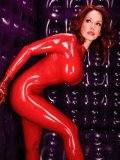 Bianca Beauchamp will take your breath way in tight bright red latex outfit