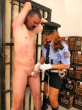 Police woman Gina Killmer in high heel boots and white gloves punishes dick of naked man