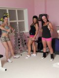 Playful Masie Dee and the girls touch and stroke dude's nice dick at the gym