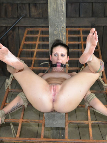 Rope bound skinny Hailey Young with smooth pussy gets her tiny nipples clamped