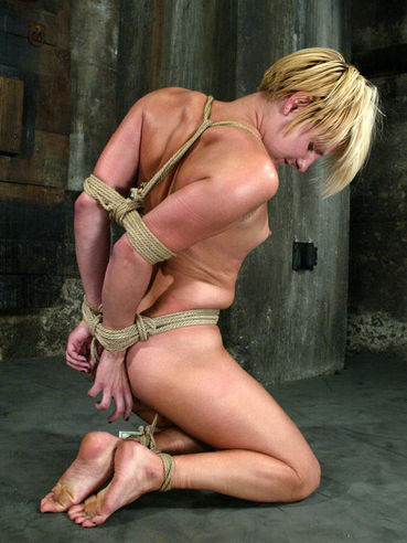 Bound helpless blonde girl Vendetta gets her clit and love hole punished