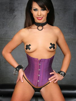 Brunette Paulina James in tight corset gets her sexy natural tits punished