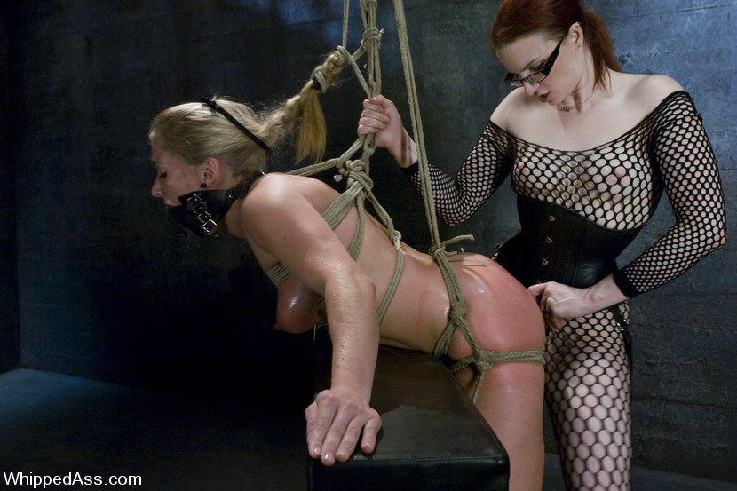 dia zerva loses her red lingerie after getting tied by