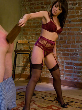 Hot bodied mistress Penny Flame in sexy lingerie spanks and fucks her slave boy Angel