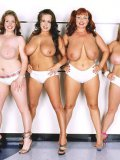 Angela White and three more BBW ladies bare their massively big natural tits for fun