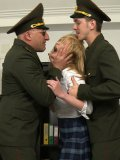 Army dudes in uniforms have a rough sex treatment for the wild blonde Amber Daikiri