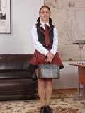Nerdy Denise Sky in a cute schoolgirl uniform gets used and smelled by her kinky principal.