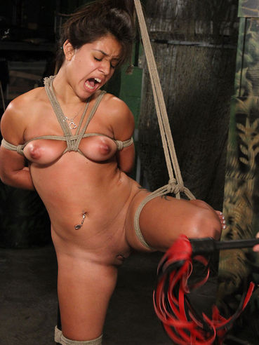 Rope bound Jynx Maze gets suspended, whipped and vibrated in the dungeon