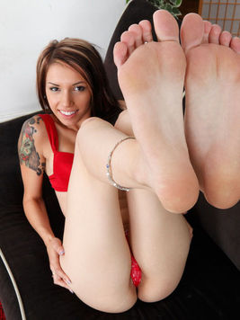 Callie Cyprus is a fetish model who is using her feet to please guys all the time.