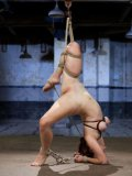 Sweet babe Melody Jordan sucks a rigid cock hungrily and then hangs tied up like a slut.