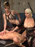 Mona Wales and Lorelei Lee getting into hardcore action with a FemDom lover while dominating him.