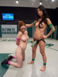 Asian babe Tia Ling getting stimulated in hardcore cat fights with red haired Audrey Hollander.