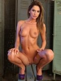 Bambi gets tied to a bench and tortured with cigarette by Mandy Bright in the locker room