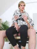 Frisky doll Lady Sonia doesn't take her cloths off when riding the hard cock
