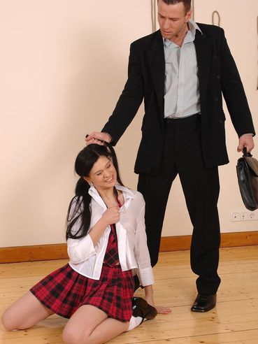 Cute uniformed schoolgirl girl Miho Lechter with clean pussy and sexy tiny ass getting humiliated