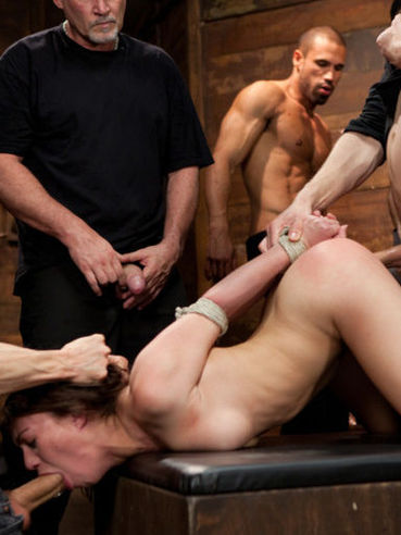 Sexy girl Tiffany Doll gets her rough sex treatment at the hands and cocks of several men