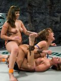 Dragon Lily, Isis Love, Gwen Diamond have double penetration fun after wrestling