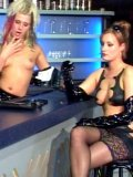 Leggy small titted blonde Peggy Sue with cigarette gets her feet eaten by latex diva