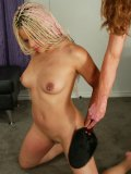 Sexy assed long haired blonde Velvet Rose in dreadlocks gets spanked and dildo fucked by Kym Wilde