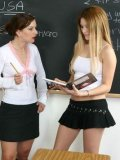 Girl in black miniskirt and white panties gets her bottom spanked by her milf teacher Renee Pornero