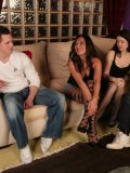 Two guys get into the disposal of excited dominas Amanda Pickering and her friends
