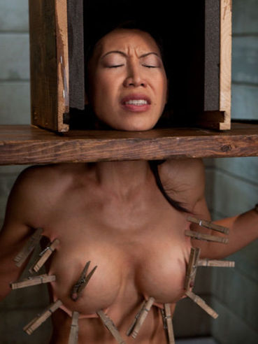 Slave Tia Ling gets her perfect asian tits tortured and her shaved pussy fucked by Maestro
