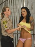 Lady guard Ariel X makes imprisoned brunette bare her big boobs and bubble butt