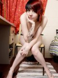 Teenage alternative redhead Cassie with lovely boobs pulls off her black lingerie