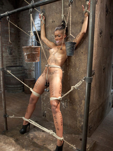 Skin Diamond is tied up and there is nothing she can do in the bondage basement.