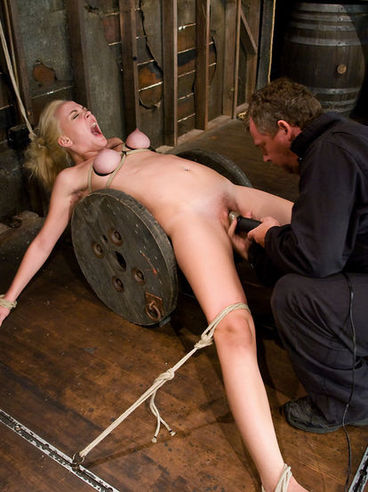 Flexible naked white-haired slave girl Annette Schwarz gets hogtied in a way she won't soon forget