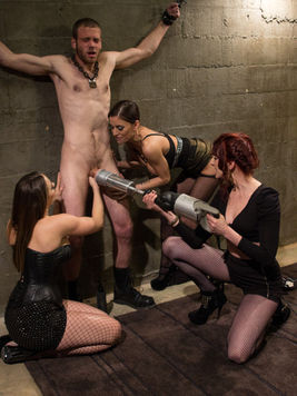 Maitresse Madeline and her femdom loving babes make a man squirm in sweet pain and stimulation.