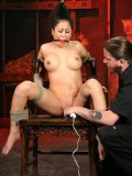 Rope bound asian Kayme Kai with red ball gag gets her snatch attacked by white vibrator