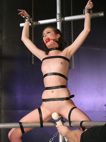 Gagged slender brunette Hailey Young tied with black leather straps gets her cunt stimulated