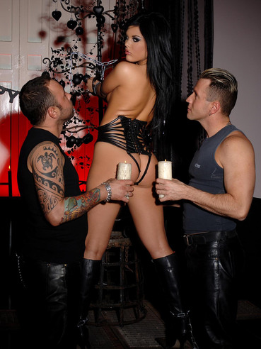 Two curious men slam Madison Parker's amazing bare buttocks simultaneously