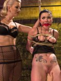 Cherry Torn in hard bondage with her two hot, dripping wet friends during rope and toy stimulation.
