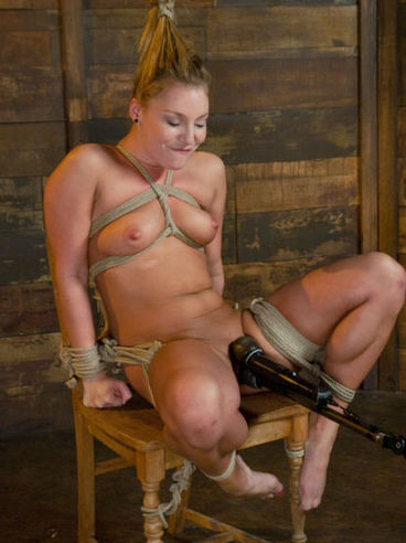 Rope bound blonde Aurora Snow gets her ass and pussy punished with toys and hook