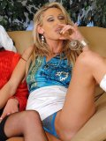 Rachel Evans and Cynthia Vellons  pee on blindfolded brunette in red blouse