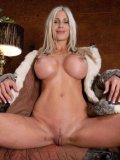 Blonde haired milf Puma Swede with big breasts and shaved snatch has fucking machine sex