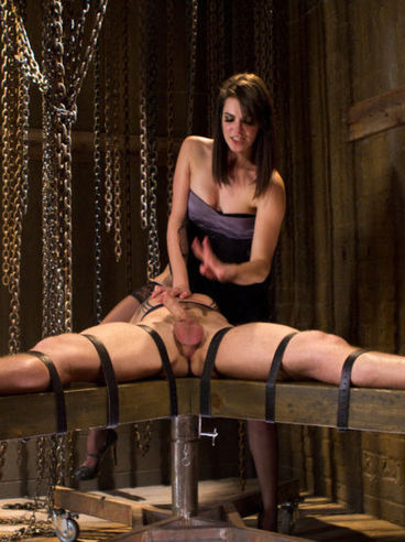 Bobbi Starr humiliates a cute twink, ties him up and drills his nice asshole while he's tied up.
