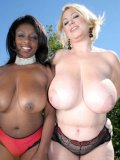 Plump ladies, white Samantha 38G and black Ms. Panther, compare their big tits in the sun